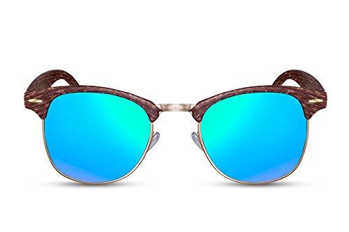 Cheapass Sonnenbrille Braun Holz Grün-Blau Verspiegelt UV-400 Naturoptik Plastik Damen Herren