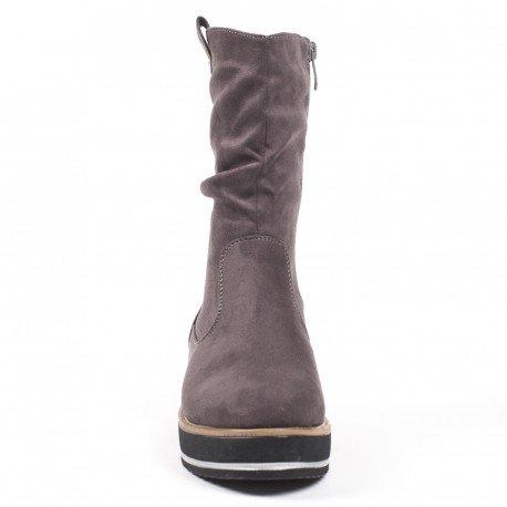 Ideal Shoes - Bottines compensées effet daim Iriana Gris