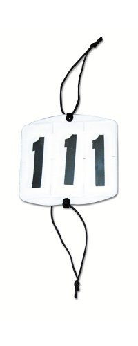 Falt-Kopfnummern für Trense, weiß, eckig, 3 Nummernstreifen von 0-9 (Reiter 5 7)
