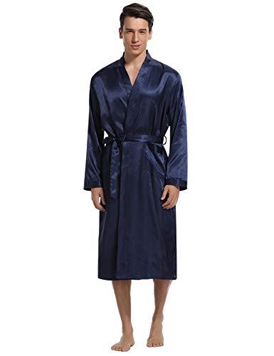 cbacb22162 Aibrou Herren Morgenmantel Bademantel Lang Satin Nachtwäsche Kimono  Sleepwear V Ausschnitt mit Gürtel (Navy Blau, X-Large)