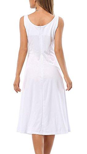 Mesdames Robes Habillées Col V Sans Manche Mi Longues Bustier D'Été Retro Robes De Soirée Robes D'Été Blanc