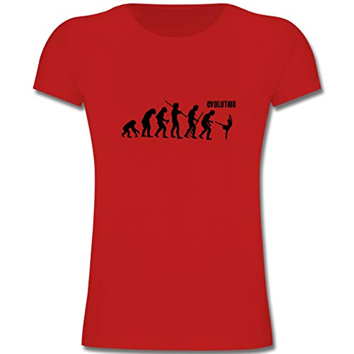 Evolution Kind - Modern Dance Evolution - 140 (9-11 Jahre) - Rot - F131K - Mädchen Kinder T-Shirt