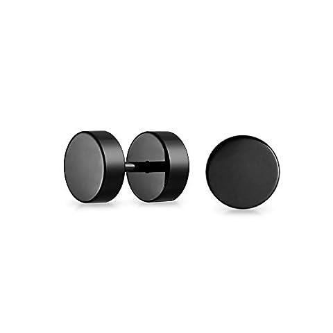 Bling Jewelry Acier inoxydable noir illusion faux tunnel Plug 8mm boucles d