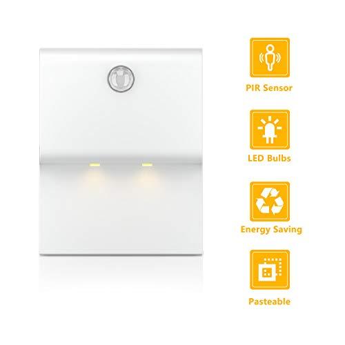 TASMOR LED Luz Nocturna con Sensor de Movimiento, 3 Modos de Iluminación Nocturna, LED Lámpara de Noche Inalámbrica con Pilas, 1 Pieza