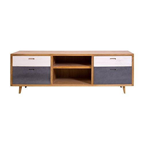 Rebecca mobili credenza madia 4 cassetti legno mdf pino bianco grigio marrone stile moderno scandinavo salotto cucina (cod. re4794)