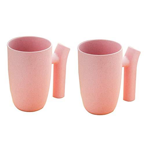 OIBHFO Home 2 stücke Bad zahnbürste Tumbler Cup für Wasser Tee Milch saft rosa unzerbrechlich -