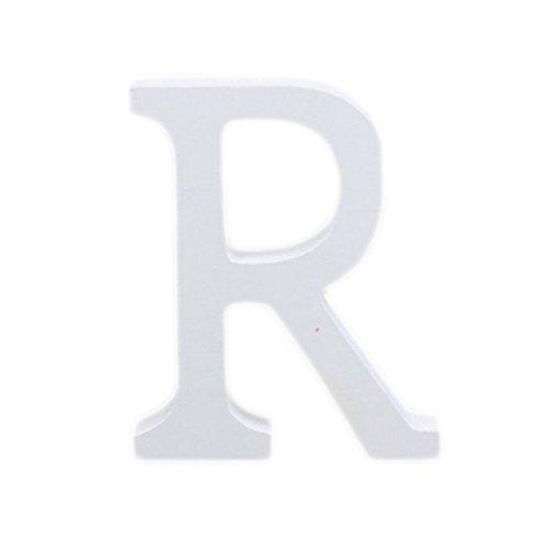 Outflower Ornements de l'alphabet Anglais Moderne Bois Grande Décoratifs Lettres en Bois à Suspendre Stickers Muraux Restaurant Décor Décoration de Mariage à la Maison en Bois Blanc Bois,8cm (R)