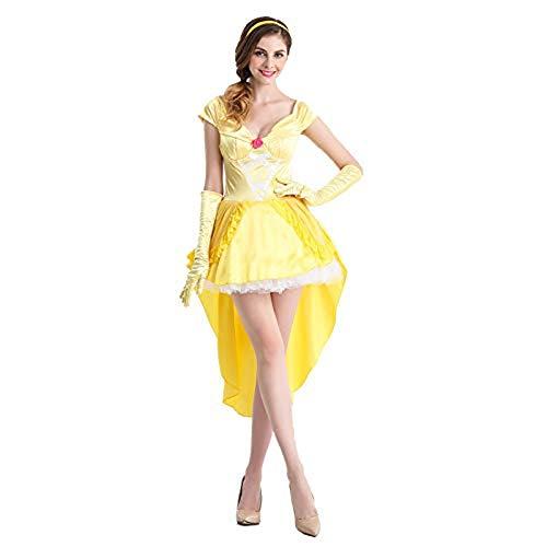 HAPPY WALK 2019 New Arrivel Halloween Cosplay Dress Beauty and The Beast Dress Belle Yellow Fancy Dress Cosplay Costume for Women (2019 Fancy Dress Halloween)
