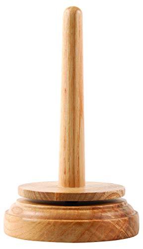 Portaovillos Classic Knitpara hilos y ovillos, soporte de madera marrón, 9x 9x 16cm