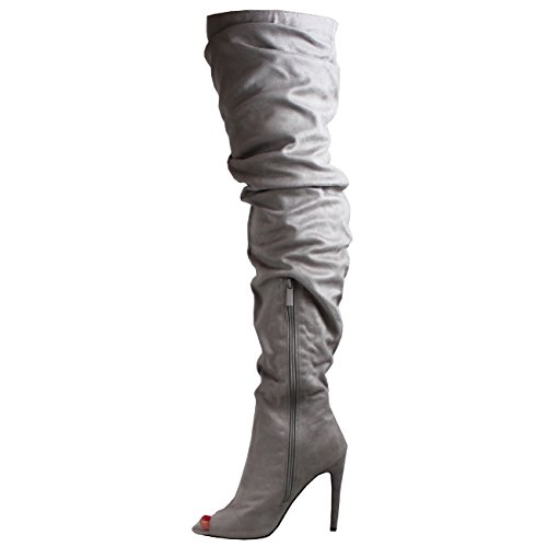 Bottes Stylet Femmes Mode Viva Slouch Robe Haute Équipé Peep Gris Cuisse Toe qvxTxwnp1