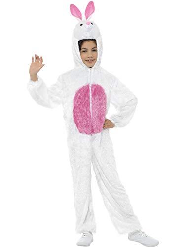 Luxuspiraten - Kinder Jungen Mädchen Kostüm Plüsch Hase Häschen Bunny Rabbit Fell Einteiler Onesie Overall Jumpsuit, perfekt für Karneval, Fasching und Fastnacht, 122-134, Weiß