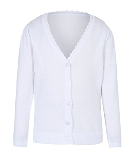 Ex UK Store Girls School Cardigan White Scallop Trim 3-11Y