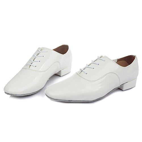 HROYL Herren Tanzschuhe/Latin Dance Schuhe Satin Ballsaal Modell-DW-703 Weiß