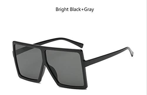 Cranky Orange Classic übergroße quadratische Sonnenbrille Frauen Retro Transparente Sonnenbrille Männer 2019 billig Gradient Lentes de Sol Hombre, Bright Black Balck