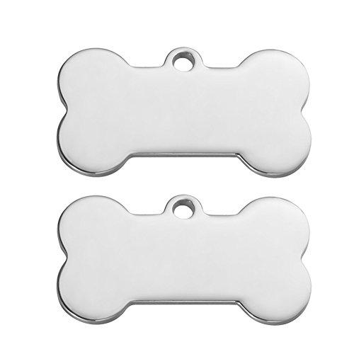 ZALAGO Knochen Personalisiert Haustier ID Tag Hund Tag Hundemarke Anhaenger aus Edelstahl,Silber