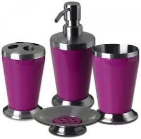 Set de 4 accessoires pour salle de bain new colours inox - Accessoires salle de bain design inox ...