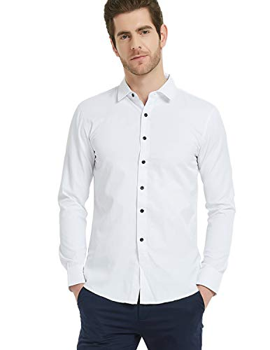 Pishon Herren Hemd, bügelfrei, schmale Passform, langärmelig, massiver Stehkragen - Weiß - Etikettengröße 5X-Large = US XXX-Large -