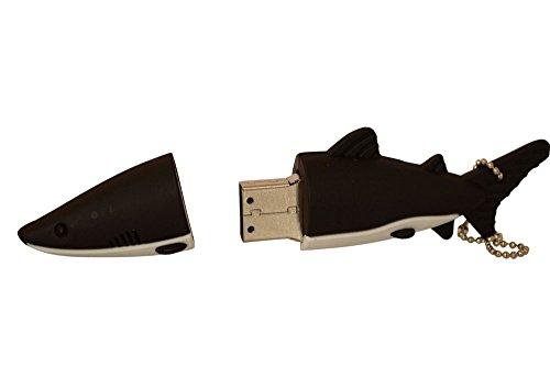 NiceEshop Novelty USB-Speicherstick, 8 GB, Hai-Design, USB 2.0, Schwarz
