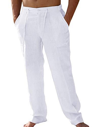 Pxmoda Herren Leinen Casual Leichte Drawstrintg Elastische Taille Sommer Strand Hosen (L, 1-Weiß) - Herren Casual Leinen-hose