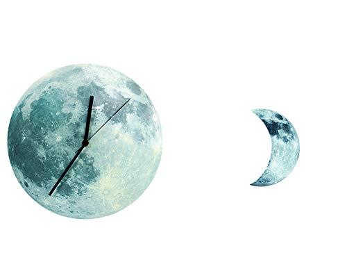 Persevering Melody - Clock Kreative Uhr Kinderzimmerdekoration Foto-Wandaufkleber Leuchtend Fluoreszierende Neumond-Pendel-Mondwand Uhr,Printedversion