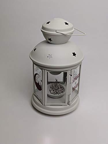 IKEA Rotera - Farol para vela (acero/vidrio, para uso interior y exterior), acero vidrio, Blanco, 21 cm
