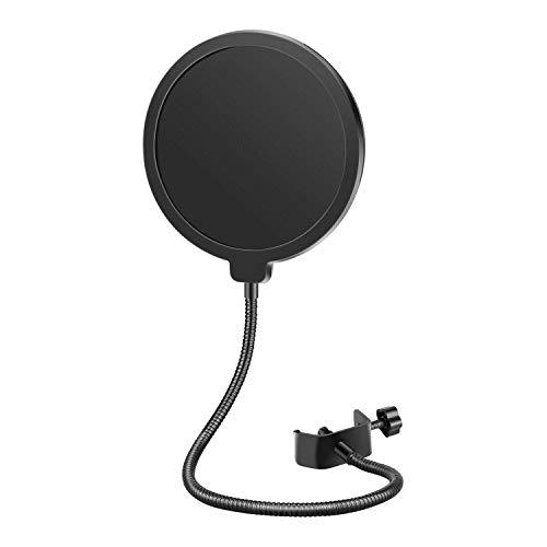 Neewer® NW(B-3) 6 Zoll Studio Mikrofon Mic Runde Form Wind Popschutz Maske Schild mit Stand Clip (schwarzer Filter)