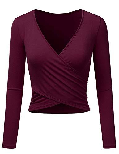 Uniquestyle Frauen Langarm Party Oberteil Tief V-Ausschnitt Crop Tops Slim Fit Shirt Bluse Obertail mit Rüschen (Weinrot, S)