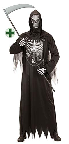 Karneval-Klamotten Sensenmann Kostüm Kinder MIT Sense Halloween-Kinder-Kostüm mit Kapuze Größe 116
