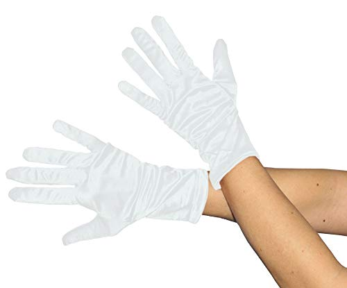Foxxeo Kurze glänzende weiße Handschuhe 20er Jahre Damen Fasching Kostüm (Handschuhe Weiße Kostüm)