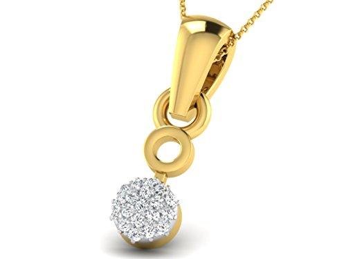 Or Jaune 9 ct Pendentifs Diamant en forme de Rond, 0.04 Ct Diamant, GH-SI, 0.33 grammes.