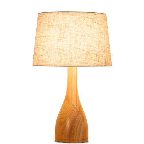 Erleuchtung Nordic Nachttischlampe, einfache Massivholz Schlafzimmerlampe, LED-Dimmer Nachttischlampe for Schlafzimmer Wohnzimmer (Platz) Tischlampe (Color : A-Flax, Größe : Push Button) - Push-button-satin