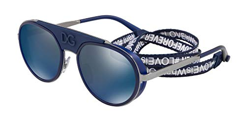 Dolce Gabbana Herren Sonnenbrille 0DG2210, Blau (Gunmetal/Blue), 55