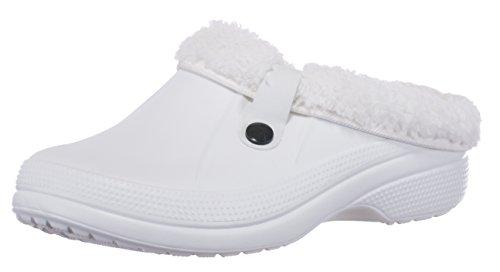 brandsseller Damen Clogs Pantoffel Schuhe Gartenschuhe Hausschuhe Unisex Gefüttert - Farben: Weiß - Größe: 39