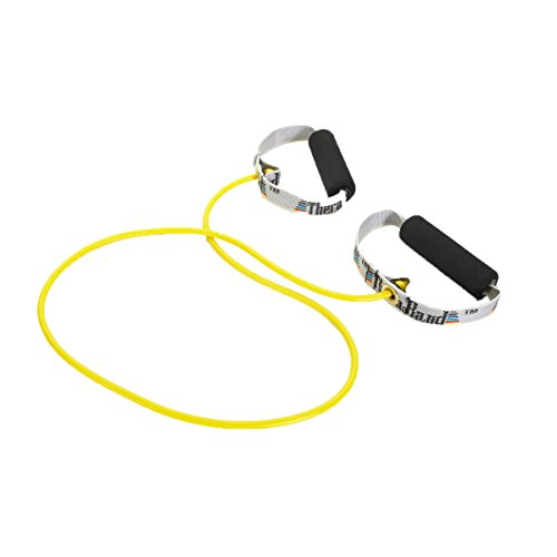 Thera-Band Professional Latex Resistance Tubing with Handles For Upper-Body Exercise, Rehab and Conditioning, Soft Handles, 48 Inch, Yellow, Thin, Beginner Level 2