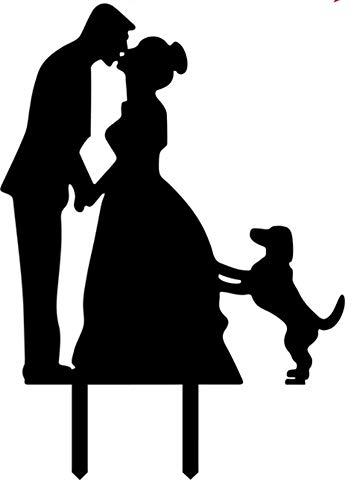 Mentor - Estatua interactiva para tartas, silueta de beso de alta hora, con perro en pico, 14,5 x 12,5 cm
