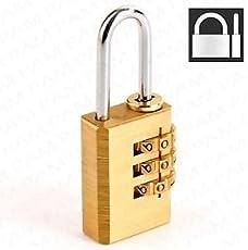 ACCESSOREEZ 3 Digit Resettable Brass Number Padlock (Gold)