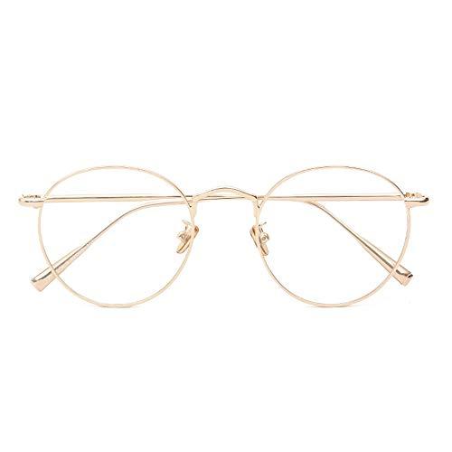 HAIBUHA Brille Retro Runder Rahmen Brillengestell Flacher Spiegel Unisex (Farbe : Gold)