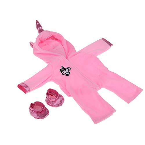ung Plüsch Hoodies Strampler / Kapuze Jumpsuit mit Socken Outfit Set Für 18 Zoll Amerikanische Mädchenpuppe - Rosa Pferd ()