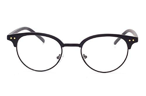 Unisex JTS1813Halbrahmen-Browline-Brille, Kunststoff, Metallrand, Schwarz