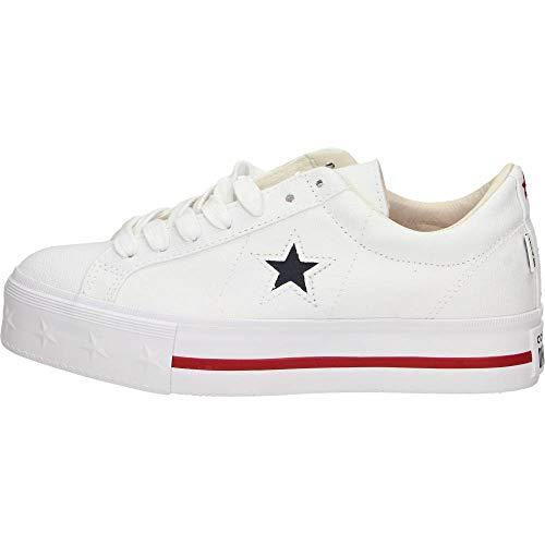 Converse Schuhe Frau niedrige Turnschuhe mit plattform 564030C ONE Star Platform OX Größe 39.5 Weiß (- Converse Plattform Schuhe)