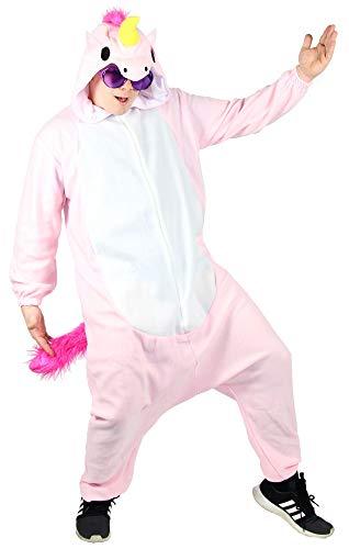 Foxxeo Pinkes Einhorn Kostüm für Erwachsene Damen Herren Größe L