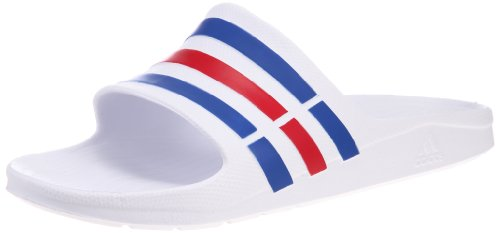 adidas Duramo Slide, Men's Open Toe Sandals, White (White/True Blue/Red), 8 UK...