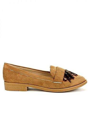 Cendriyon, Derbies Simili peau STUDIO H Chaussures Femme Caramel