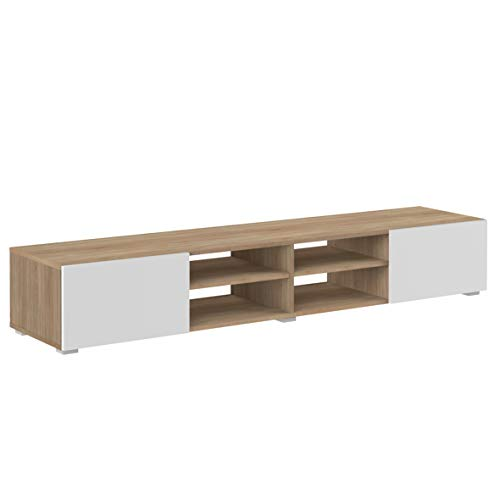 Movian Lijoki - Meuble TV, 185x31x42cm (longueurxprofondeurxhauteur), Blanc et finition chêne