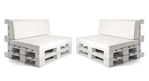 Pack de 2 colchonetas para sofas de palet y respaldo Blanco (2 x Unidades) Cojin relleno con espuma. | Cojines para chill out, interior y exterior, jardin | No incluye palet