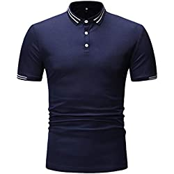 Armanis Polo pour Hommes,Couleur Unie Polo en Coton à Coutures Chemises à Manches Courtes décontractées,002,M