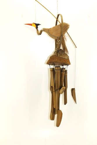 100cm Holz Vogel Windspiel Feng Shui Handarbeit Bambus Klangspiel Deko W15