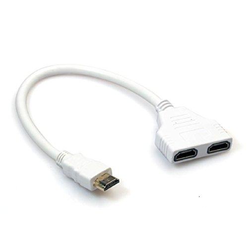 hdmi adapter 20 cm Kolylong® 720p, 1080i und 1080p Aktive HDMI 1-2 Split Doppel Signal-Adapter-Konverter für Plasma, Digital, TFT / LCD und HD / TV Weiß (Split Hdmi-signal Auf 2 Tvs)