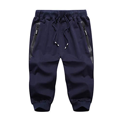 Pantaloni moda uomo pantaloni sportivi all'aperto pantaloni comodi larghi casuali pantaloni aderenti al polpaccio (xxl, blu scuro)