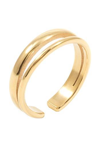 Happiness Boutique Damen Bandring Zweireihig in Goldfarbe | Offener Doppel Band Ring Vergoldet Edelstahlschmuck (Doppel Wrap Damen)